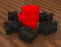 Puzzle rosso e nero lucido Fotografia Stock Libera da Diritti