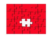 Puzzle rouge avec une partie blanche illustration stock