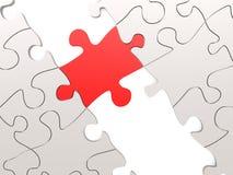 Puzzle rouge comme pont avec des pièces blanches Photos libres de droits