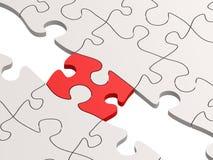 Puzzle rouge comme pont avec des pièces blanches Photos stock