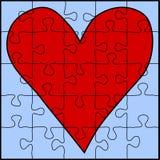 Puzzle rouge de coeur Photographie stock libre de droits