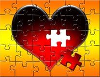Puzzle rouge de coeur avec des disparus de partie Photos libres de droits