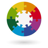 Puzzle round - base with 8 options Royalty Free Stock Photo