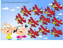 Puzzle with the same aircraft. In the vector illustration puzzle, where children must find two identical aircraft stock illustration