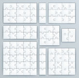 Puzzle-Schablonen. Satz Puzzlespielstücke Stockfoto