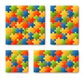 Puzzle Set - colored - 4 puzzles Stock Images