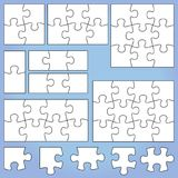Puzzle set. 1 2 3, 4 6 8 9 12 pieces jigsaw vector illustration Royalty Free Stock Image