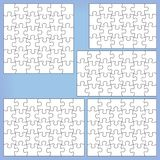 Puzzle set 24, 28, 30, 35, 36 pieces. Puzzle set 24 28 30, 35 36 pieces Outline vector jigsaw Vector Illustration