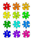Puzzle  set with smile face vector symbol icon design. Royalty Free Stock Images