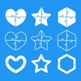 Puzzle Shape Heart, Star, Hexagon. Puzzle Objects. Royalty Free Stock Photography