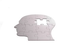 Puzzle in shape of human head Royalty Free Stock Photo