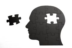 Puzzle in shape of human head Royalty Free Stock Images