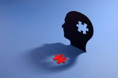 Puzzle in shape of human head Royalty Free Stock Image