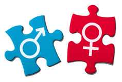 Puzzle Showing Gender Symbol. Royalty Free Stock Image