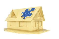 Puzzle solar panel on house Stock Photography