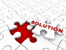 Puzzle solution. Last missing piece of puzzle Stock Image
