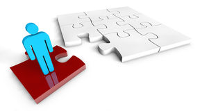 Puzzle Solution Concept. Red Jigsaw Piece white background Stock Photo