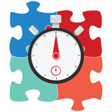 Puzzle solution stopwatch timer. Stopwatch and time illustration concept Royalty Free Stock Photography