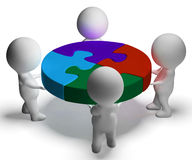 Puzzle Solved And 3d Characters Shows Union And Cooperation Royalty Free Stock Photos