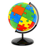Puzzle sphere as globe Stock Photo