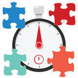 Puzzle stopwatch timer. Stopwatch and time illustration concept Stock Image