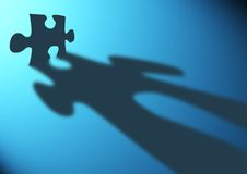 Puzzle strategies. A single puzzle piece casting a long shadow vector illustration