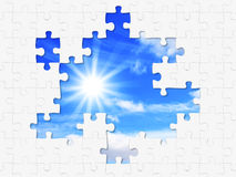 Puzzle and sun Stock Photos
