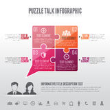 Puzzle Talk Infographic. Vector illustration of puzzle talk infographic design element Royalty Free Stock Photos