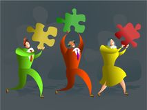 Puzzle team. Team of executives carrying puzzle pieces - conceptual illustration Stock Photography