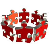 Puzzle team. Isolated on white background 3D rendering puzzle, team Stock Photography