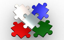 Puzzle team. 5 connected puzzle pieces  on white background. jigsaw piece are colored in gray, blue, green and red Royalty Free Stock Image