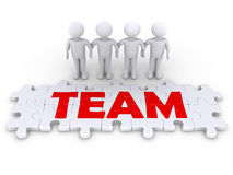 Puzzle team with men. Four 3d people holding hands and puzzle pieces spelling the word team Royalty Free Stock Images