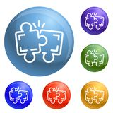 Puzzle teamwork icons set vector stock illustration