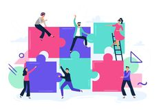 Free Puzzle Teamwork. People Work Together And Connect Puzzle Pieces, Business Office Workers Team Cooperation Flat Vector Royalty Free Stock Photo - 164126845