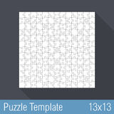 Puzzle Template 13x13. Square jigsaw puzzle template 13x13 pieces Stock Image