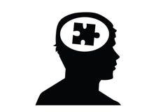 Puzzle in testa che guarda per radrizzare Fotografie Stock