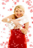 Puzzle of thankful girl with snowflakes Stock Photos