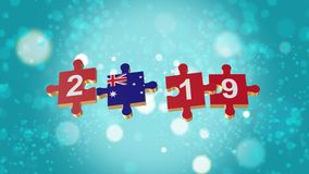 Puzzle to Australia Flag for New Years 2019. 3D Puzzle to Flag for Happy New Years to 2019 stock illustration