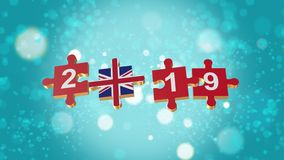 Puzzle to British Flag for New Years 2019. 3D Puzzle to Flag for Happy New Years to 2019 royalty free illustration