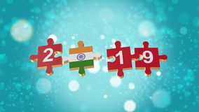 Puzzle to India Flag for New Years 2019. 3D Puzzle to Flag for Happy New Years to 2019 vector illustration