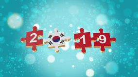 Puzzle to South Korea Flag for New Years 2019. 3D Puzzle to Flag for Happy New Years to 2019 royalty free illustration
