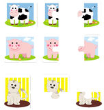 Puzzle for toddlers. Puzzle for children from 18 monthes of age. Only two pices to match. Three colorful and funny animals: cow pig and cat. Eps available Royalty Free Stock Images