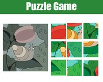 Puzzle for toddlers. Complete the picture. mosaic game with snail. Puzzle for toddlers. Complete the picture, mosaic game. Animals theme activity for children Royalty Free Stock Photos