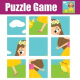 Puzzle for toddlers. Educational game. Complete the picture. Activity for pre school years kids. Girl with chicken Stock Image