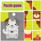 Puzzle for toddlers. Match pieces and complete the picture. Activity for pre school years kids. Animals theme. Cute puppy. Puzzle for toddlers. Cute puppy. Match Royalty Free Stock Photos