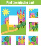 Puzzle for toddlers. Matching children educational game. Match pieces and complete the picture. Activity for pre school years kids Stock Photography