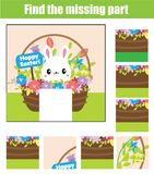 Puzzle for toddlers. Matching children educational game. Match pieces and complete the picture. Activity for pre school years kids. With Easter rabbit Stock Photos