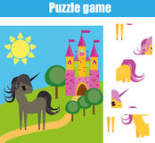 Puzzle for toddlers. Matching children educational game. Match pieces and complete the picture. Activity for pre school years kids Stock Image