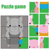 Puzzle for toddlers. Matching children educational game. Match pieces and complete the picture. Activity for pre school years kids Royalty Free Stock Images