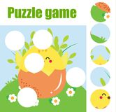 Puzzle for toddlers. Matching children educational game. Match pieces and complete the picture. Activity for pre school years kids. Bird with birdhouse Stock Image